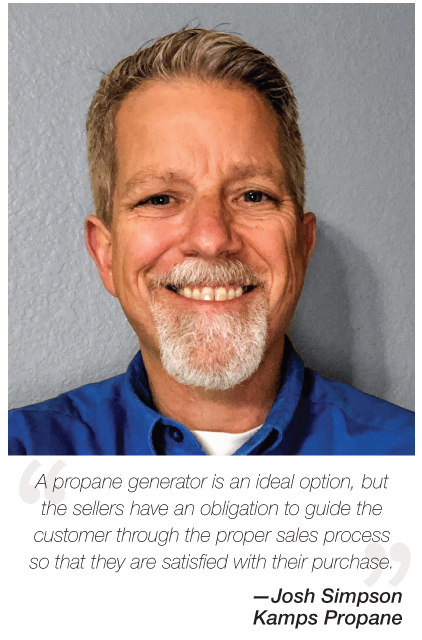 Propane Generator sales surge says Josh Simpson of Kamps propane due to lower cost more frequent power outages reports BPN leading trade publication since 1939