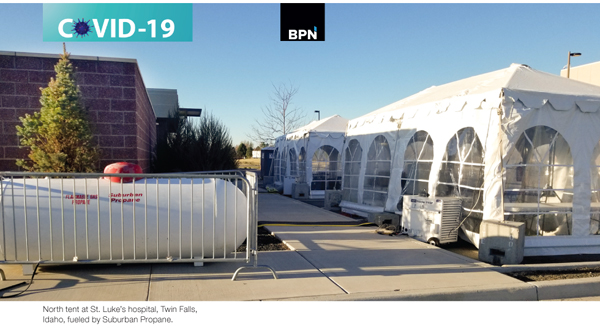 Propane fuels emergency Medical Tents for covid coronavirus hospitals reports BPN lpg inustry leading source for news since 1939